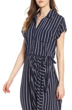 Graphic pinstripes pattern this breezy crop top that pairs perfectly with the matching piece for a cool, head-to-toe look.