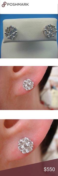 Gorgeous 0.75 carat 14k diamond flower earrings Gorgeous 0.75 carat 14k diamond flower earrings Jewelry Earrings