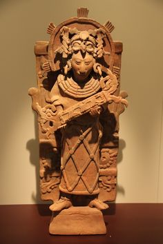 K'inich Janaab' Pakal I (Great-Sun-Shield), King of Palenque, depicted on an incense burner Maya, Palenque, Chiapas, Mexico 615-683 CE Clay and pigment H: 86; W: 44; D: 18 cm Gift of Mr. and Mrs. Arnold Maremont, Chicago, to American Friends of the Israel Museum Accession number: B77.0146-Israel Museum