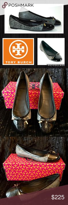 🆕 TORY BURCH Black Python Print Ballet Flats NWT Authentic TORY BURCH Black Smoke Verbena Tribal PYTHON Snake Print Ballet Flats Shoes  Brand New In Box 🔥 Trendy Python Print 🔥 Retail: $265.00 Plus Tax SOLD OUT! Size: 7 M Style: Verbena - Tribal Pitone Snake / Python  Color: Smoke Roccia (Black)  Patent Leather Trim And Toe Cap With Stitched Signature Logo Rubber Sole With Logo Guaranteed To Be 💯 Authentic  Perfect Way To Treat Yourself Or Makes A Fabulous Gift! 🎁🎁🎁 Authenticity 💯…