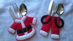 Set of Four Christmas Cutlery Holders, Cutlery Holders for Christmas £15.00