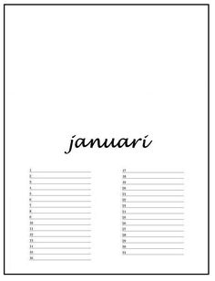 verjaardagskalender januari met lijn