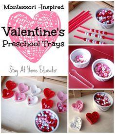 Four Montessori inspired Valentine's preschool trays - Stay At Home Educator