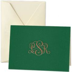 Crane & Co - Note Cards - Hunter Green Silkscreened Engraved Monogram Serif Font, Sans Serif, Font Setting, Snail Mail, Hunter Green, Crane, Note Cards, Stationery, Merry