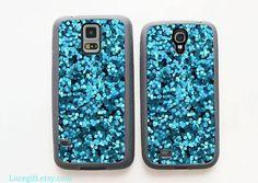 Blue glitter Samsung case Samsung Galaxy s5 by Lucegift on Etsy, $9.99