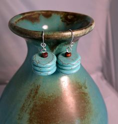 SALE Turquoise Blue Magnesite Earrings Sterling by cowboysindians, $5.00