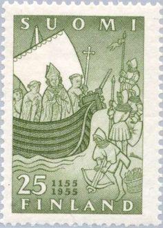 Ship with Bishop Henrik and Clergy, Heathens on Land