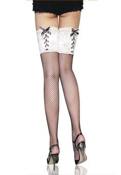 b3827da3e73 Fashion and Sassy White lace top fishnet stockings Makes you stand out in  the crowd