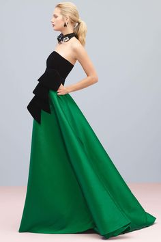 Stunning Strapless Evening Gown With A Black Top And Emerald Green Bottom    Sachin