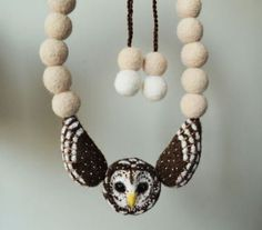 Barred Owl necklace needle felted