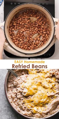 You cant beat the simplicity and taste of Homemade Refried Beans made with just five-ingredients! I love how easy this recipe and knowing my family is getting a healthier version made with real ingredients. Authentic Mexican Recipes, Mexican Food Recipes, Real Mexican Food, Mexican Refried Beans, Homemade Refried Beans, Refried Beans Recipe From Scratch, Rice And Refried Beans Recipe, What Are Refried Beans, Authentic Refried Beans Recipe
