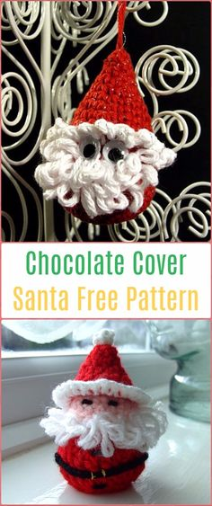 original pattern here: Santa (Chocolate Cover) Decoration Free Pattern - Crochet Santa Clause Free Patterns Christmas Ornament Crafts, Christmas Themes, Holiday Crafts, Crochet Books, Crochet Crafts, Crochet Doilies, Crochet Santa, Crochet Christmas, Crochet For Beginners Blanket