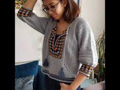 Cum crosetam o Bluza tip ie -Traditional crochet blouse Crochet Shorts, Crochet Crop Top, Crochet Poncho, Crochet Cardigan, Crochet Clothes, Mode Crochet, Diy Crochet, Knitting Videos, Crochet Videos