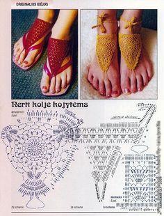 Crochet Barefoot Sandals - Chart ❥ 4U // hf
