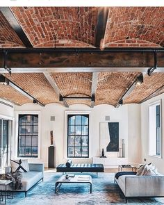 """697 Likes, 5 Comments - LoftSpiration (@loftspiration) on Instagram: """"Elegant living room with beautiful brick ceiling  love it  - - - #cool #amazing #beautiful…"""""""