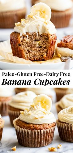 These tender and moist banana cupcakes are topped with the perfect cashew cream cheese frosting that you won't believe is dairy-free! These crowd pleasing paleo cupcakes are perfect for kids, gluten free and dairy free. Paleo Cupcakes, Banana Cupcakes, Cupcake Recipes, Cupcake Cakes, Mocha Cupcakes, Gourmet Cupcakes, Strawberry Cupcakes, Velvet Cupcakes, Easter Cupcakes