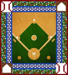 """Finished quilt measures 54"""" x 62"""". The quilt uses the baseball, basketball, and hockey panels from the Sports Life collection."""
