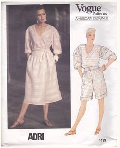 Adri was the professional name of Mary Adrienne Steckling an American fashion designer. Vogue Patterns, Fabric Patterns, Vintage Sewing Patterns, Sewing Ideas, Casual Chic, Pullover, Skirt, Retro, How To Wear