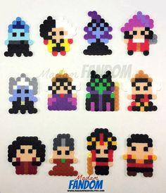 Disney Villains Party or Wedding Favors from MadamFANDOM *These pixel/bead designs were created by * Easy Perler Bead Patterns, Melty Bead Patterns, Perler Bead Templates, Diy Perler Beads, Perler Bead Art, Beading Patterns, Bracelet Patterns, Hamma Beads 3d, Pearler Beads