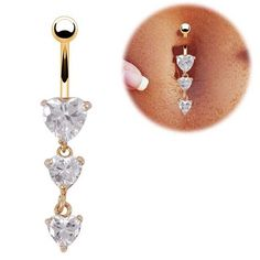 Oasis Plus Three Heart Clear Crystal 14g Navel Belly Button Ring Gold Dangle Barbell Body Piercing Jewelry -- Check this awesome product by going to the link at the image.
