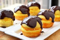 Boston Cream Cupcakes | Stole the idea & changed it up a bit. I used a yellow butter cake recipe. For the filling, I substituted cool whip for the milk and injected the cupcakes with the cream. I made my own simple ganache out of semi sweet baking chocolate and heavy cream. Dee-licious!