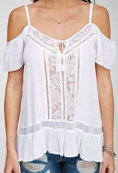 Open-Shoulder Peasant Top from Forever 21. Saved to school supplies. #boho #summertop.