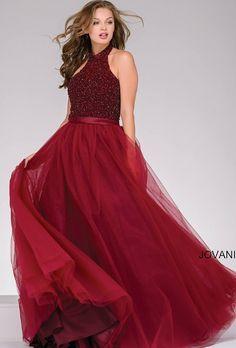 1e5a8d1ed7d6 Jovani Utah Prom Dress Red Flowy Halter top Jovani Dresses, Ball Dresses, Ball  Gowns
