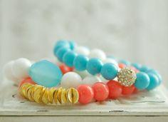 Coral Pink Stretch Bracelet, Coral Stack Bracelet, Beachy Coral Bracelet, Trendy Chic Layer Bracelet. Preppy
