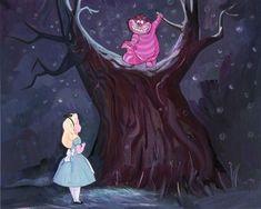 """Choosing Her Path"" Alice in Wonderland Cheshire Cat Fine Art Disney Lewis Carroll, Animation Film, Disney Animation, Godard Art, Jackson, Chesire Cat, Disney Fine Art, Princesa Disney, Disney Movies"