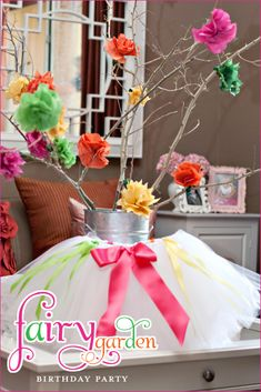 The TomKat Studio: Kate's Fairy Garden Birthday Party… Fairy Birthday Party, Garden Birthday, 1st Birthday Parties, Girl Birthday, Birthday Tutu, Birthday Ideas, Party Fiesta, Party Centerpieces, Tulle Centerpiece