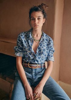 Mode Outfits, Fashion Outfits, Womens Fashion, Mode Style, Style Me, Camisa Boho, Blue Peonies, Purple Flowers, Style Parisienne