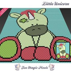Little Unicorn crochet blanket pattern; c2c, cross stitch; graph; pdf download; no written counts or row-by-row instructions by TwoMagicPixels, $3.79 USD
