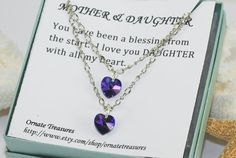 Mother & Daughter Necklace Set Personalized by ornatetreasures, $29.00