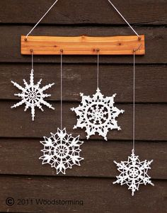 Crochet snowflakes decoration Christmas and от Woodstorming Decoration Christmas, Snowflake Decorations, Crochet Christmas Ornaments, Christmas Snowflakes, Crochet Snowflake Pattern, Crochet Snowflakes, Crochet Motif, Christmas Makes, Christmas Time