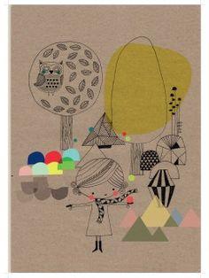 "Poisson Bulle: Swantje & Frida A3 print ""Affiche Foret"""