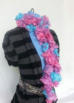 Crocheted Elegant Ruffle Pastel Colored Scarf