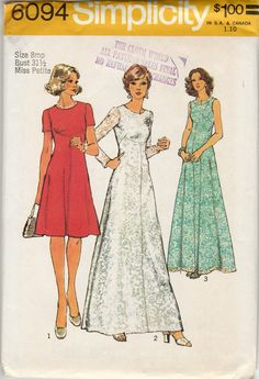 70s Simplicity 6094 Petite Dresses Sewing Pattern Miss 8mp Evening Length and Knee Length - 3 Versions