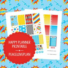 Superhero MAMBI Happy Planner Printable - Weekly Set, Happy Planner Stickers, PDF Instant Download