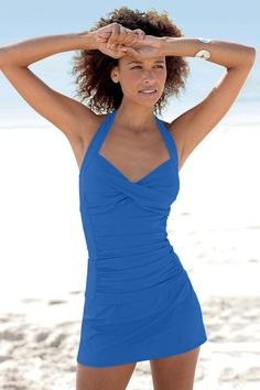 07423c2b25 Solid Ruched Halter Skirtini by Shape Benefits®