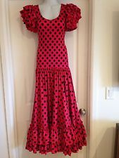 Red black polka dot sevillanas flamenco dress, women size S