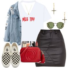 Ice Try // Quavo ft. Lil Yatchy by champagnayegang on Polyvore featuring polyvore, fashion, style, Vans, Gucci, Natalie B, Joolz by Martha Calvo, Ray-Ban and clothing