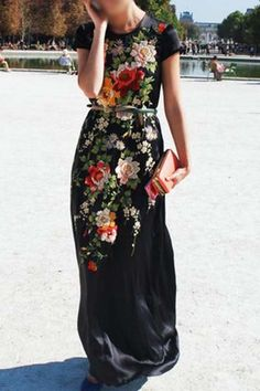 Elegant Round Neck Floral Print Short Sleeves Maxi Dress For Women