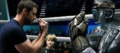 I am watching this amazing movie-Real Steel this seen is so good there. Sci Fi Movies, Top Movies, Hugh Jackman Young, Free Television, The Dark Knight Trilogy, Fighting Robots, Australian Men, Real Steel, Libros