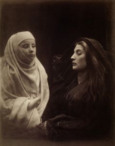 Julia Margaret Cameron, 'The Little Novice and the Queen', plate XI from Idylls of the King, albument print 1874 Julia Margaret Cameron Photography, Julia Cameron, David Wilkie, The Lady Of Shalott, Pre Raphaelite, The V&a, Oscar, Victoria And Albert Museum, Vintage Photography