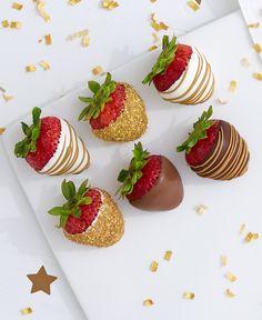 Gold sugar-shimmered strawberries