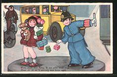 Künstler-AK Margret Boriss: Verkehrspolizist hebt Geschenke für Frau auf 0