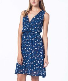 Look at this #zulilyfind! Navy Bird Surplice Dress by Guita #zulilyfinds