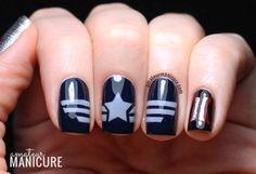 Captain America: The Winter Soldier Nail Art via @Suzann Lankford (Amateur Manicure)