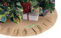 Christmas Tree Skirt Burlap Ruffle Christmas by PoshBoutiqueGa