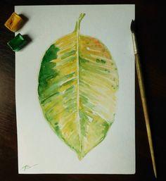 Original watercolor painting of ficus leaf by LeavesAndPaws